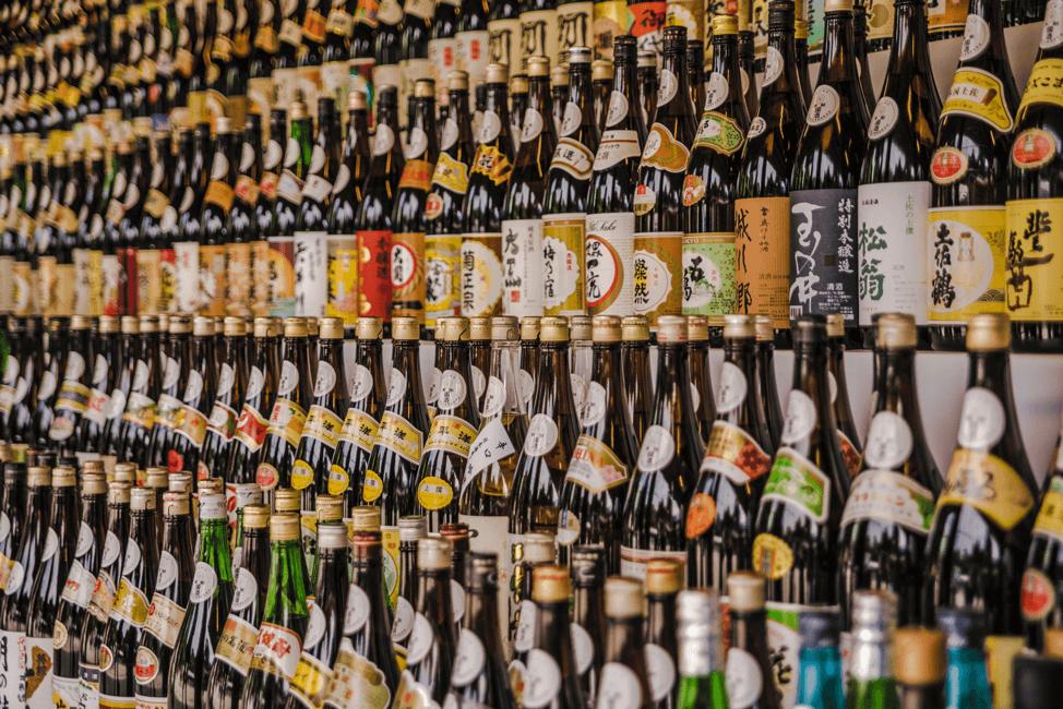 Rows of Sake Bottles