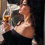 Woman drinking organic wine