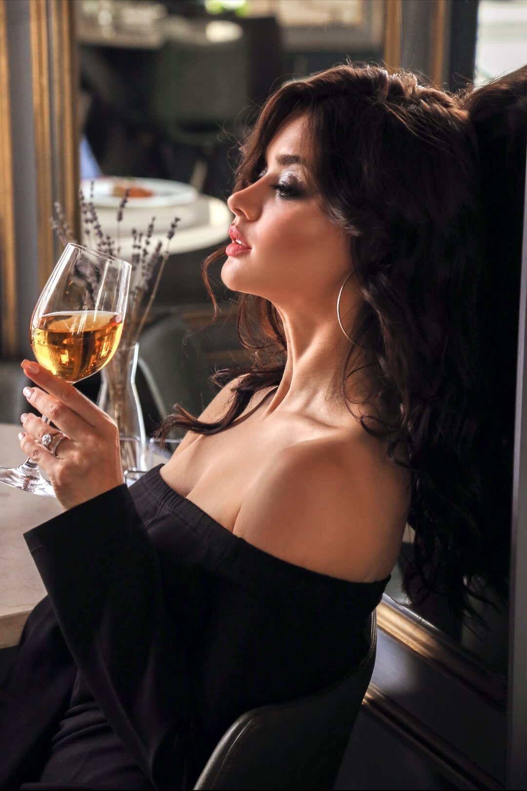 Woman drinking organic wine