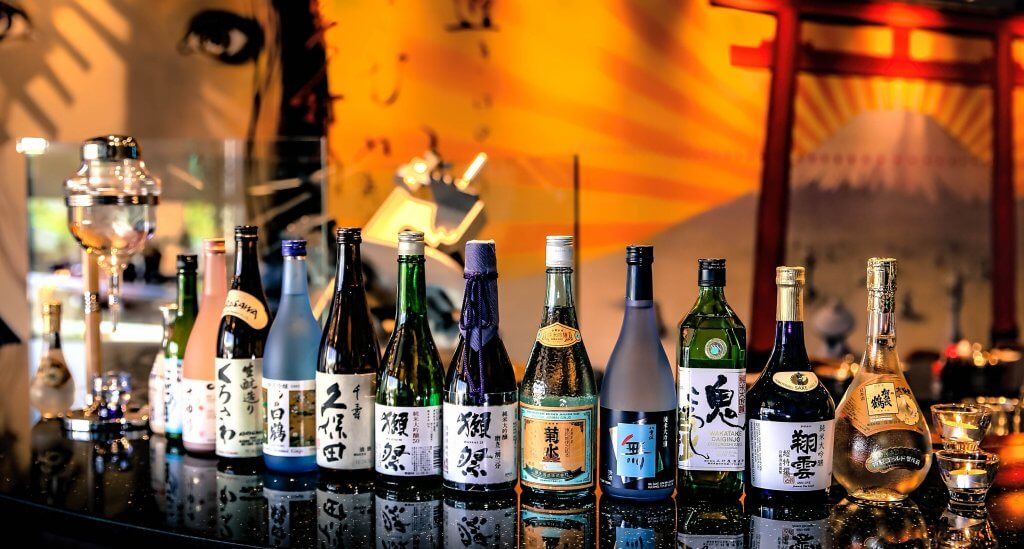 Sake Bottles in a Line