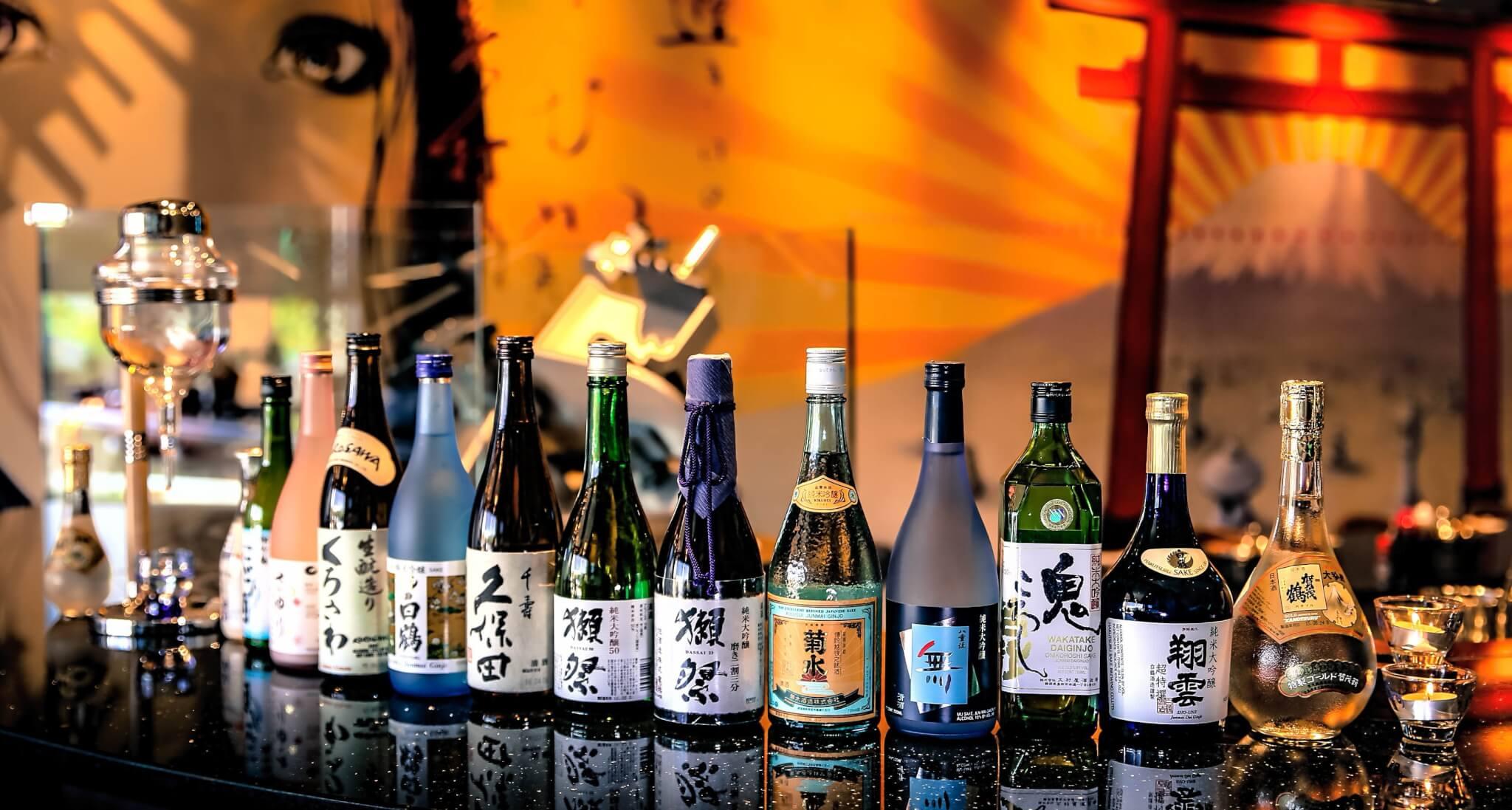 Sake Bottles in a Line