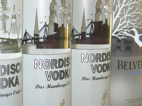 Vodka Bottles in a Line