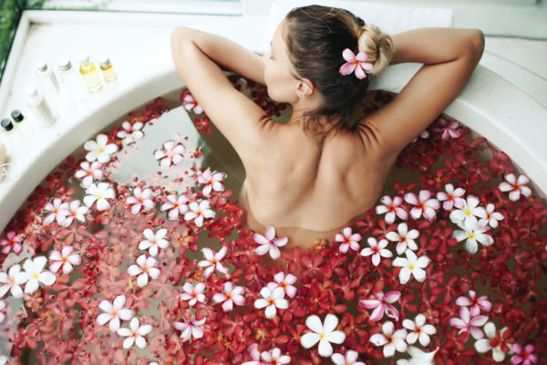 Bathtub filled with flowers