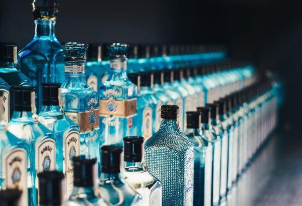Blue Liquor Bottles