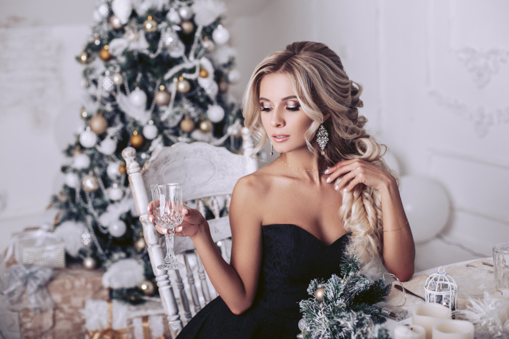 Holiday Woman Drinking Wine