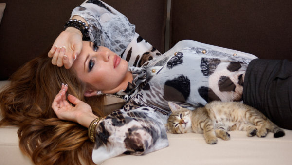 Woman Lying Down with Cat