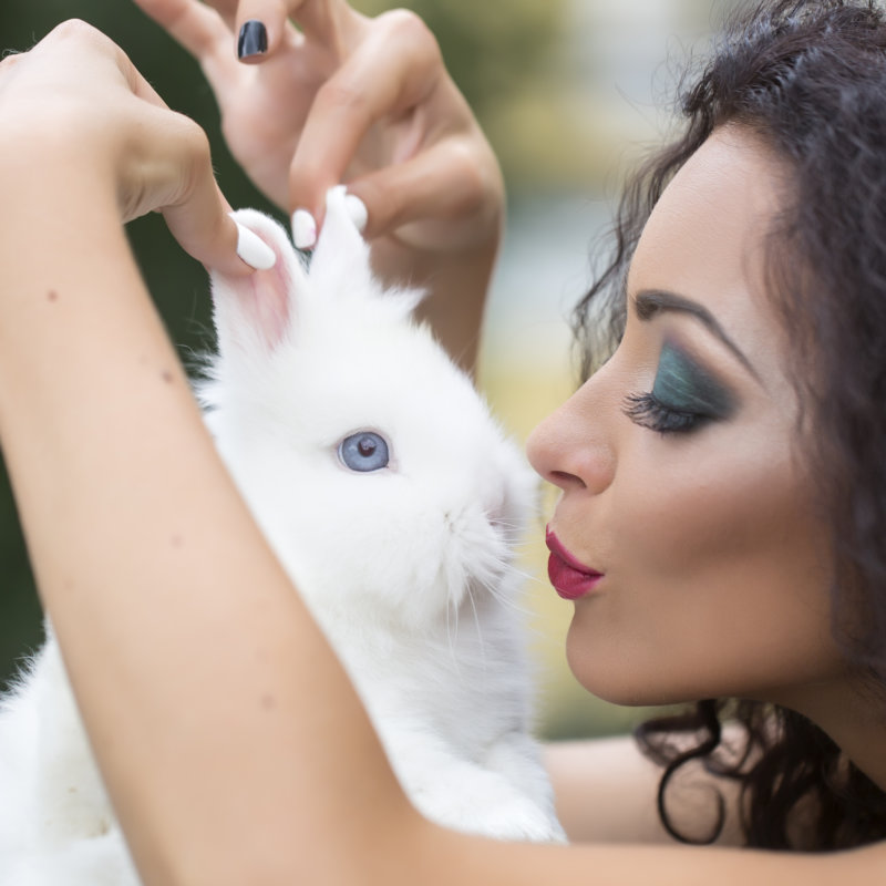 Woman Playinh with Bunny