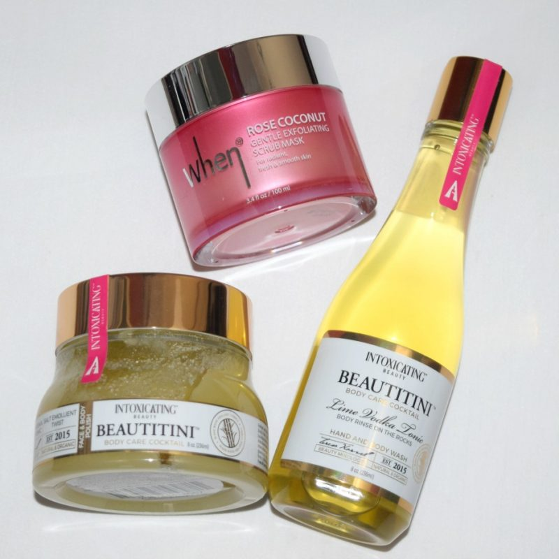 Intoxicating Beauty Beautitini collection during a review of products.