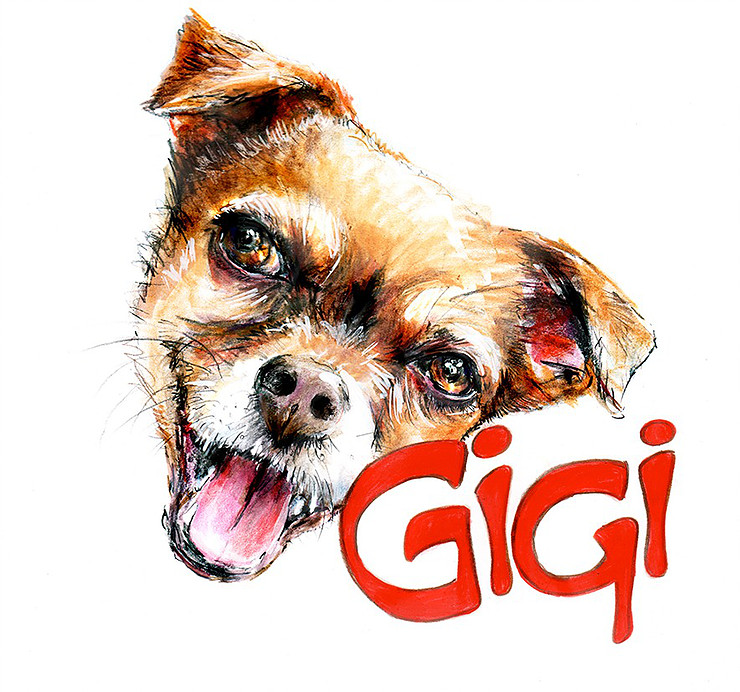 Artwork of a dog with GiGi text displayed.