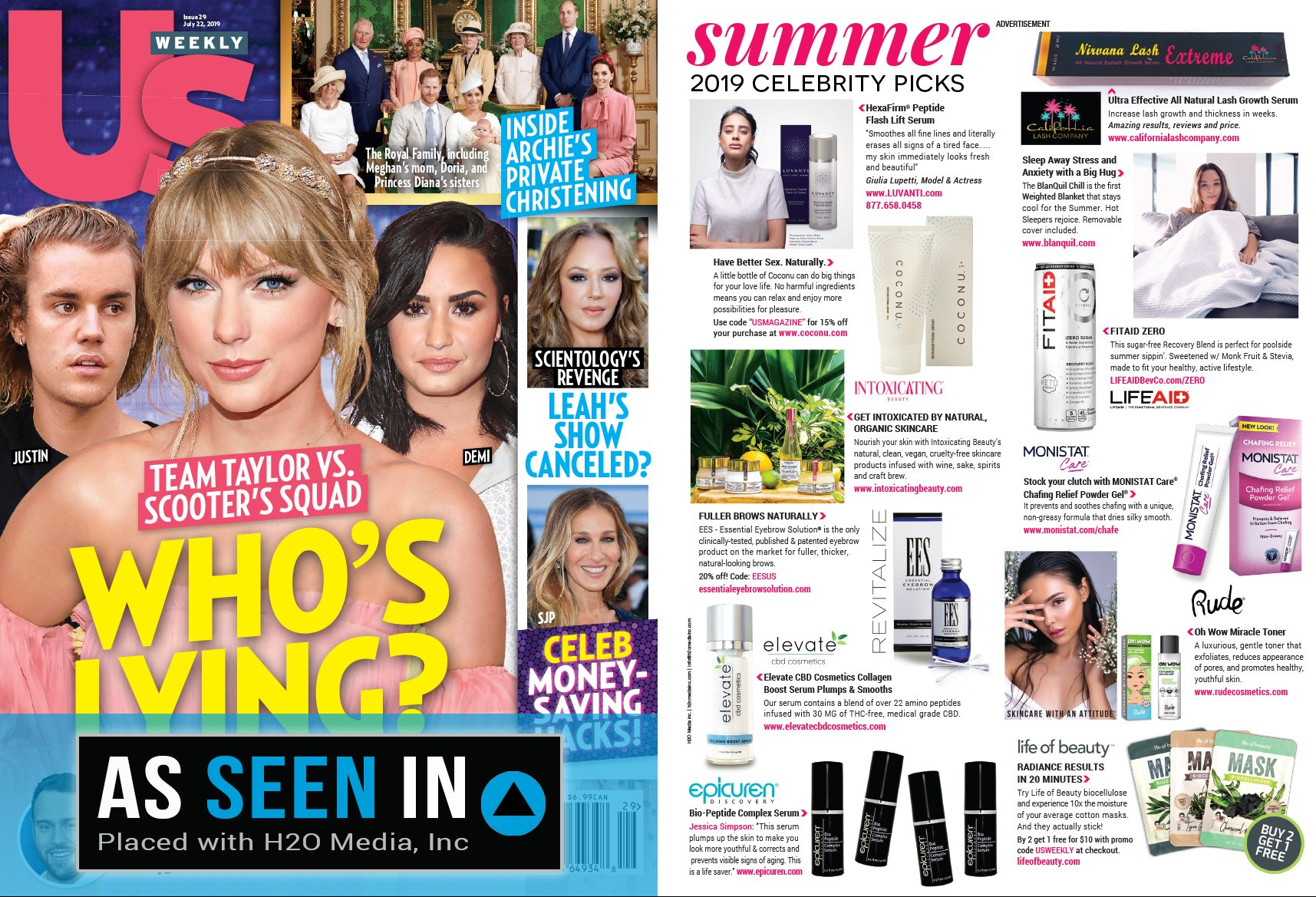US Weekly magazine containing Intoxicating Beauty products.