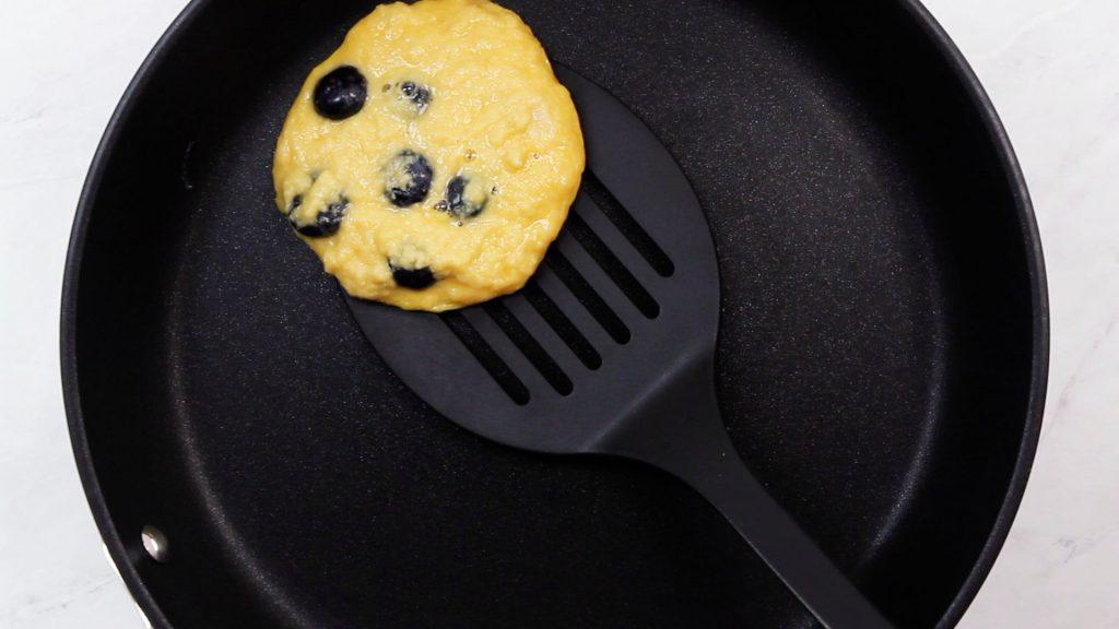 Keto Vegan Blueberry Pancake Flip in Pan