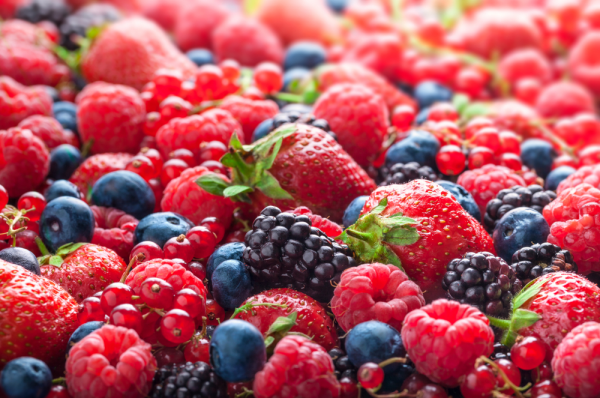 An assortment of berries mixed together.