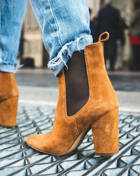 Brown suede boots.