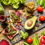 A colorful assortment of vegan food - start the year off by trying to follow a vegan diet.