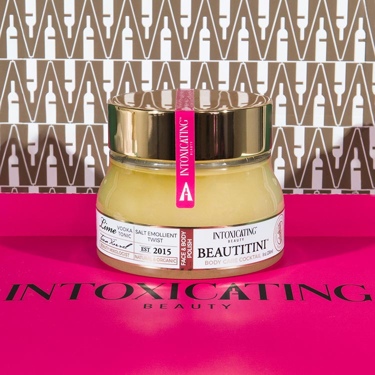 Intoxicating Beauty Beautitini Salt Emollient Twist on pink box.